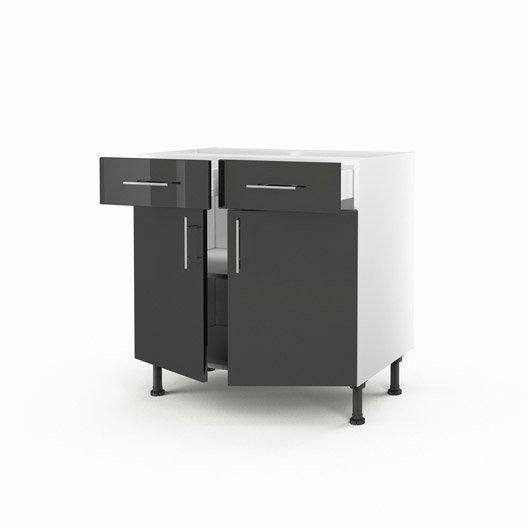Meuble de cuisine bas gris 2 portes 2 tiroirs rio x for Meuble de cuisine gris