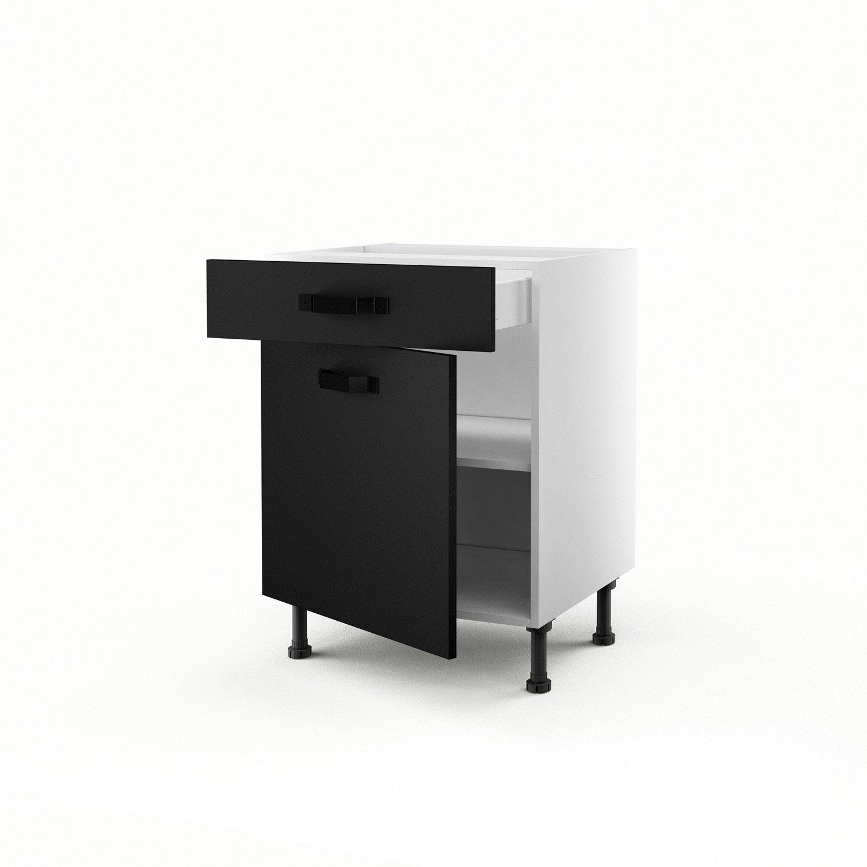 meuble de cuisine bas noir 1 porte + 1 tiroir mat edition h.70 x l