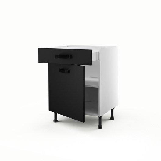 Meuble de cuisine bas noir 1 porte 1 tiroir mat edition for Meuble cuisine noir mat
