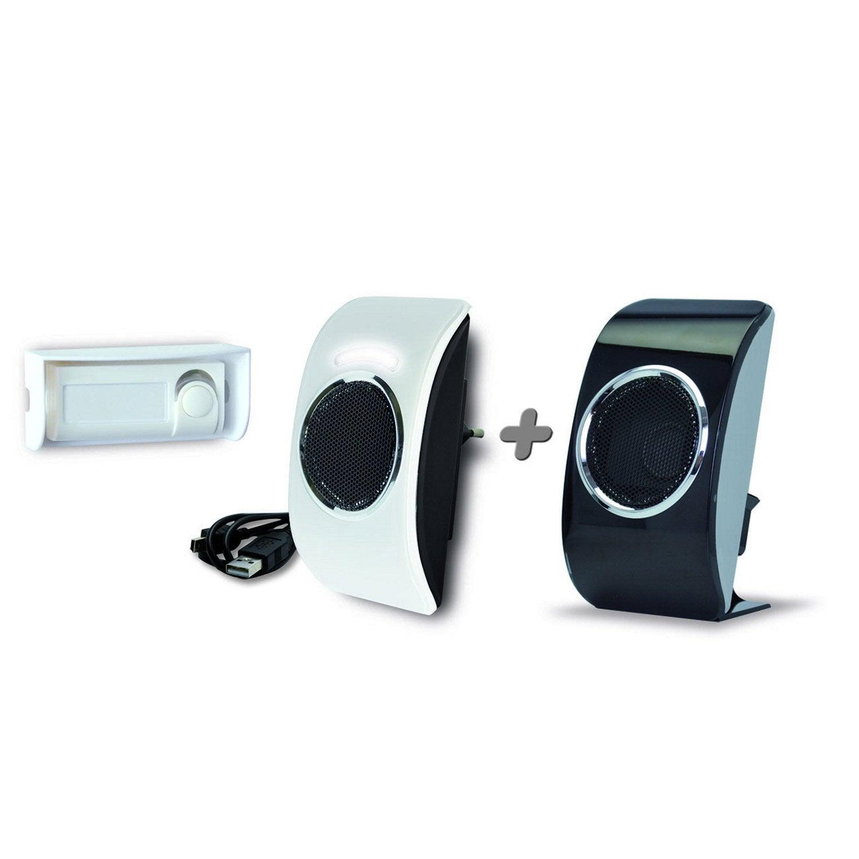 kit de carillons sans fil enfichable et flash extel lookit noir et blanc with coupe bordure sans. Black Bedroom Furniture Sets. Home Design Ideas