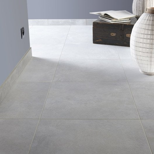 carrelage sol et mur gris brume effet béton live l.49 x l.49 cm ... - Carrelage Salle De Bain Effet Beton