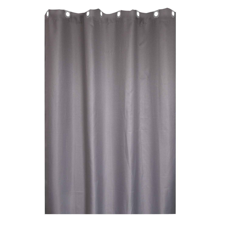 Rideau de douche en textile gris galet n°3 l.180 x H.200 cm, Maya SENSEA