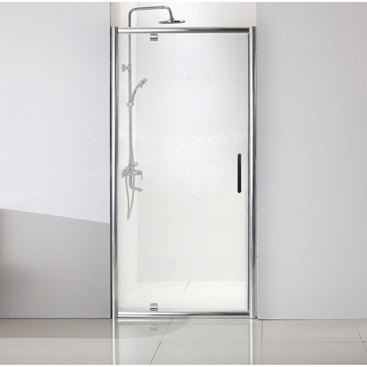 Porte de douche pivotante 80 cm transparent quad leroy for Porte de douche leroy merlin
