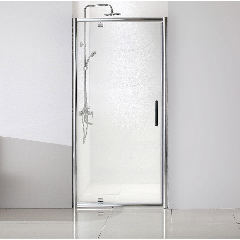 Porte de douche pivotante 100 cm transparent quad for Porte de douche coulissante avec devis refection salle de bain