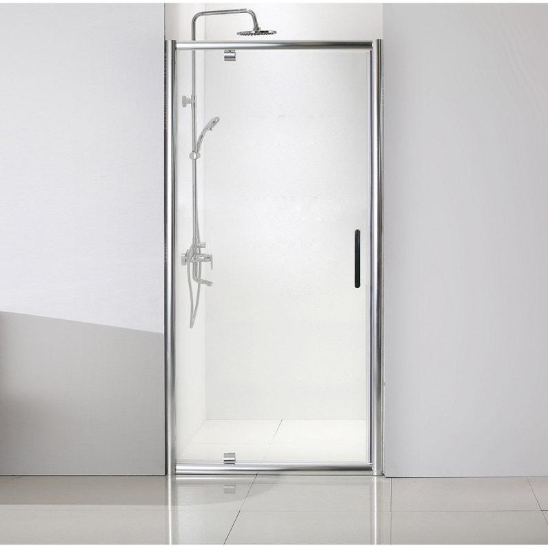 f2301c438e7491 Porte de douche pivotante 100 cm, transparent, Quad   Leroy Merlin
