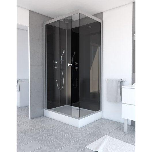 Cabine de douche salle de bains au meilleur prix leroy - Cabine de douche rectangulaire 110 x 80 ...