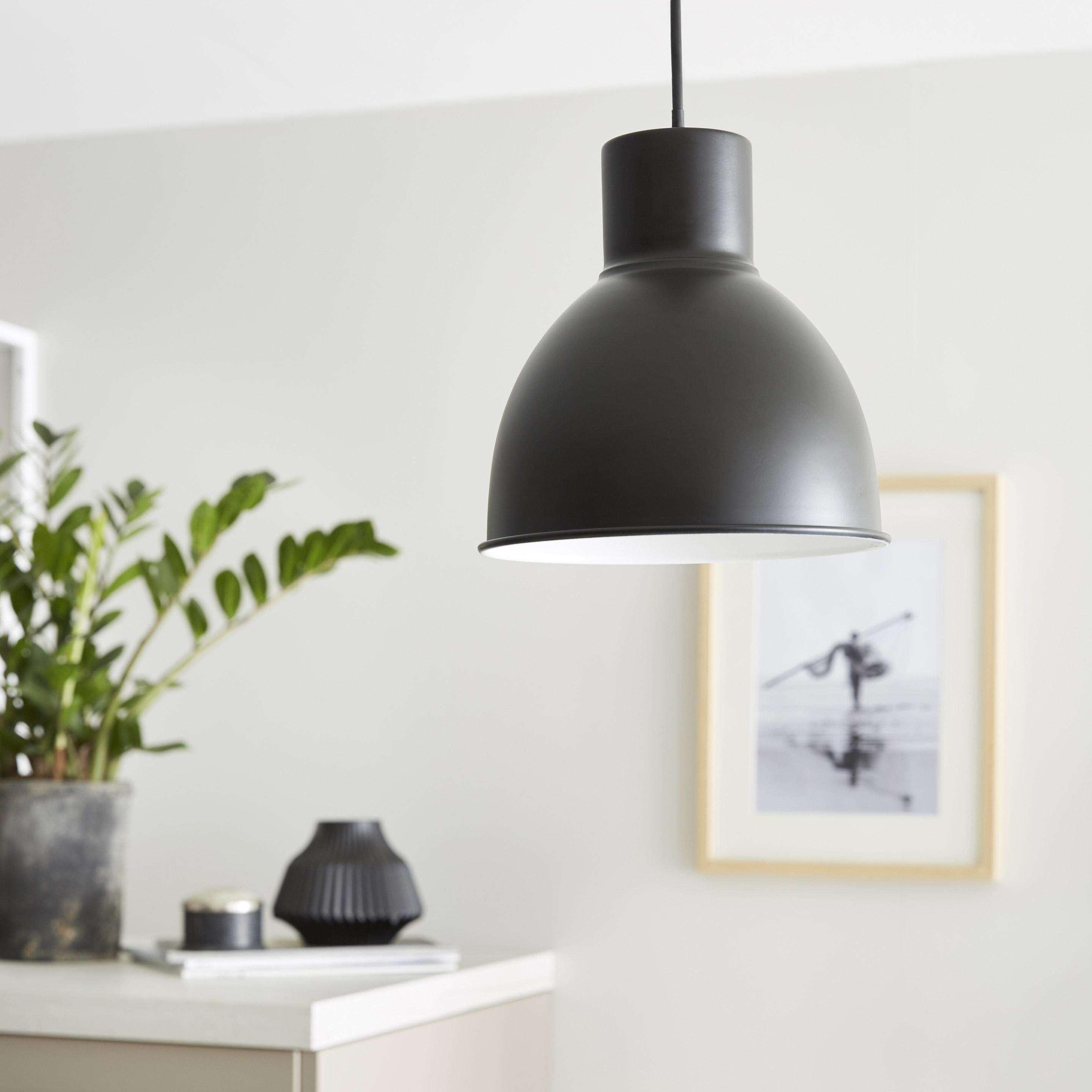 Suspension, essentiel métal noir INSPIRE Melga 1 lumière(s) D.20 cm