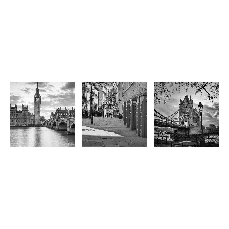 Verre imprimé LONDRES SET, noir et blanc ARTIS l.90 x H.30 cm