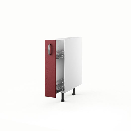 Great meuble de cuisine bas rouge porte rubis h x l x with for Facade porte placard cuisine