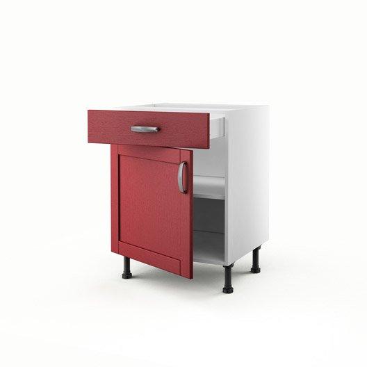 Meuble de cuisine bas rouge 1 porte 1 tiroir rubis for Meuble cuisine hauteur 70 cm