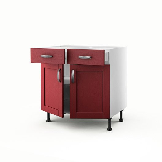 meuble de cuisine bas rouge 2 portes 2 tiroirs rubis h. Black Bedroom Furniture Sets. Home Design Ideas
