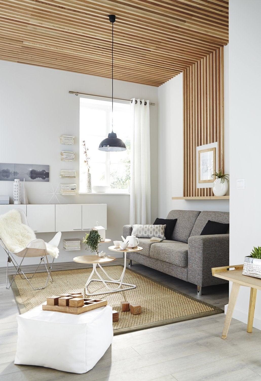Salon avec plafond en bois | Leroy Merlin