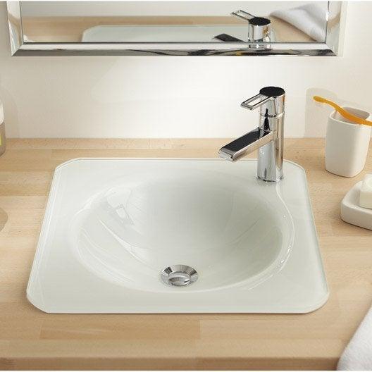 vasque encastrer verre x cm blanc lara leroy merlin. Black Bedroom Furniture Sets. Home Design Ideas