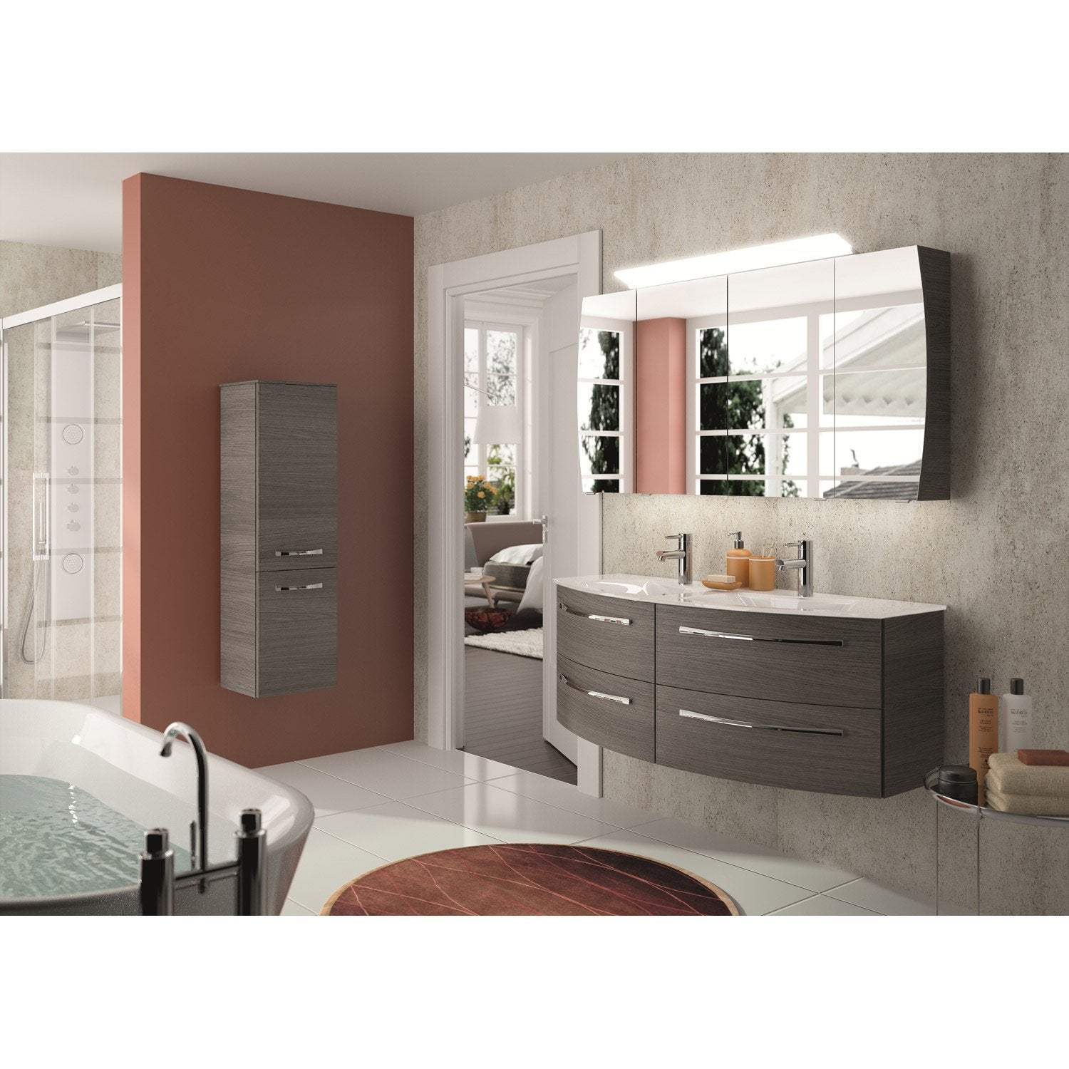 meuble de salle de bains image decor gris graphite 130 cm leroy merlin. Black Bedroom Furniture Sets. Home Design Ideas