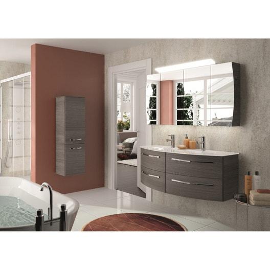 Meuble de salle de bains image decor gris graphite 130 cm - Devis salle de bain leroy merlin ...