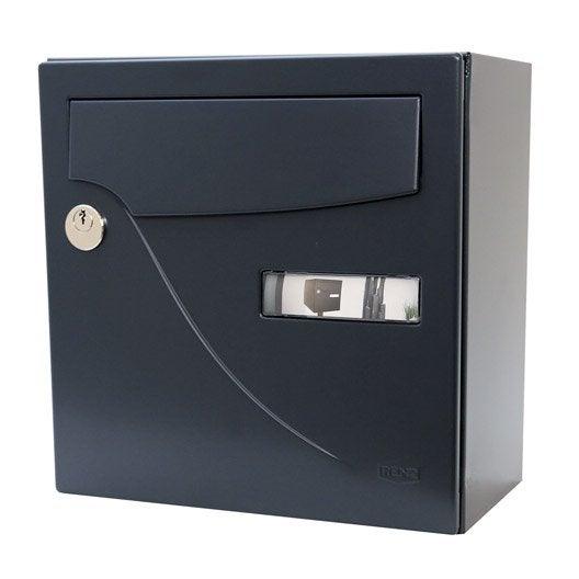 bo te aux lettres compacte 1 porte renz essentiel acier gris leroy merlin. Black Bedroom Furniture Sets. Home Design Ideas