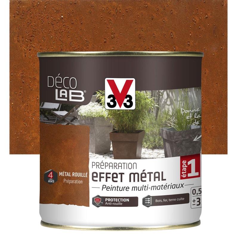 Préparation effet métal extérieur Déco V33, métal rouillé, 0.5 l ...