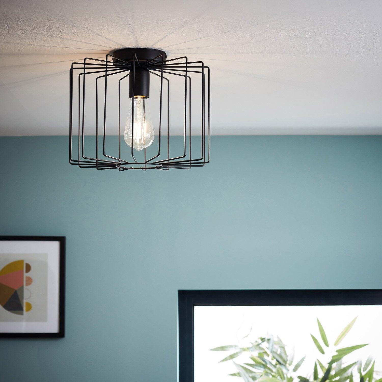 plafonnier design e27 onelia m tal noir mat 1 x 60 w brilliant leroy merlin. Black Bedroom Furniture Sets. Home Design Ideas