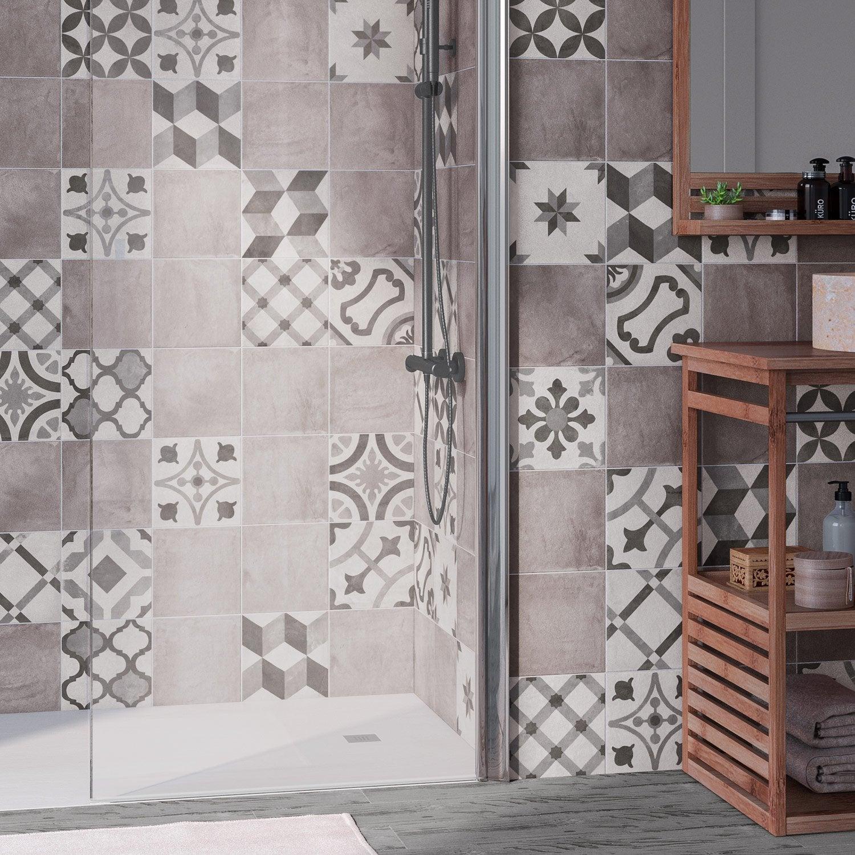 Carrelage mur et sol gris mat l.20 x L.20 cm, Deco