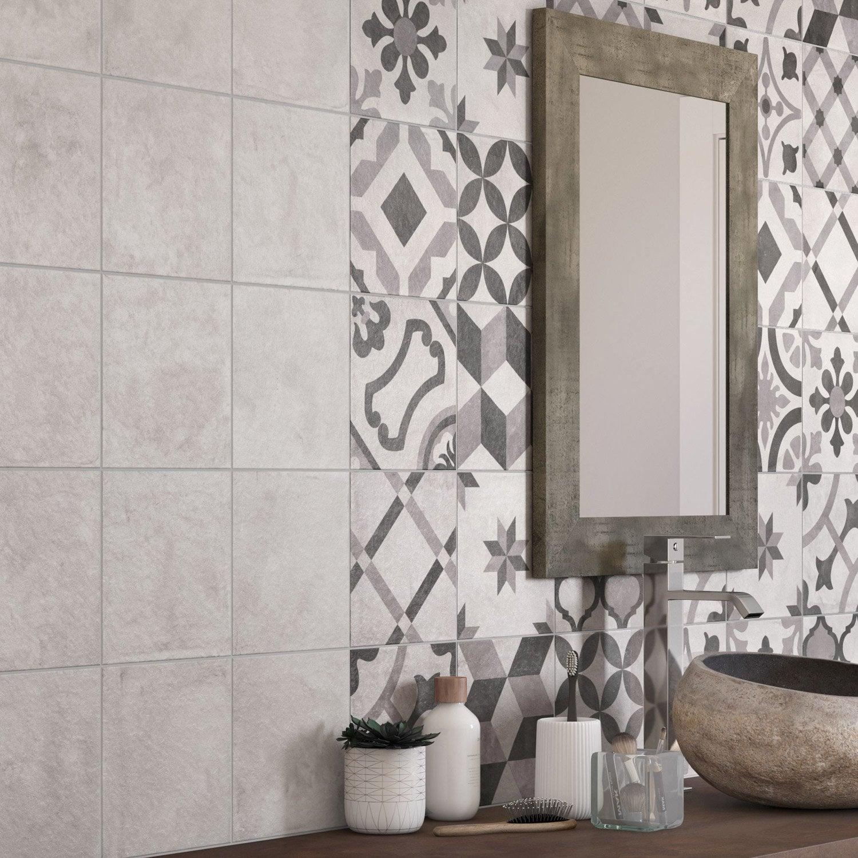 Delightful ... Deco Décor Mur Blanc Et Gris Mat L.20 X L.20 Cm, ...