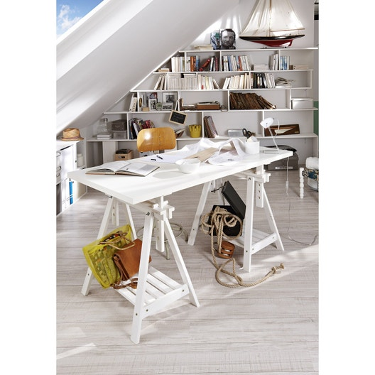 tr teau pin architecte blanc x cm leroy merlin. Black Bedroom Furniture Sets. Home Design Ideas