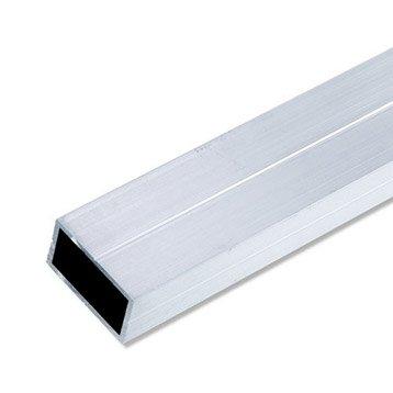 Tube rectangulaire aluminium brut, L.2.5 m x l.3.55 cm x H.3.55 cm