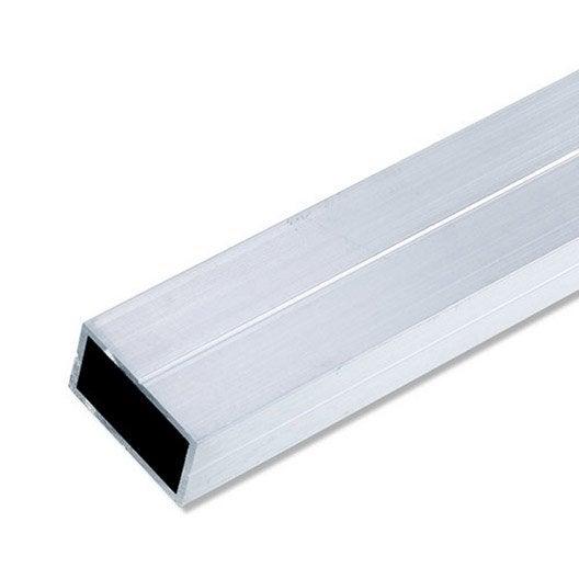 Tube rectangulaire aluminium brut l 2 5 m x l cm x h cm leroy merlin - Profile aluminium rectangulaire ...