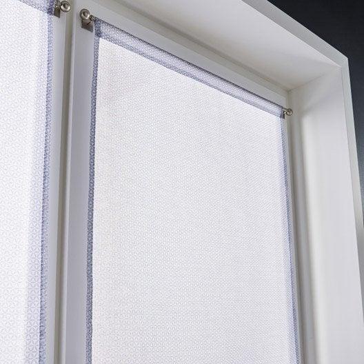 Paire de vitrages tamisant petite hauteur tomettes blanc - Rideau petite hauteur ...