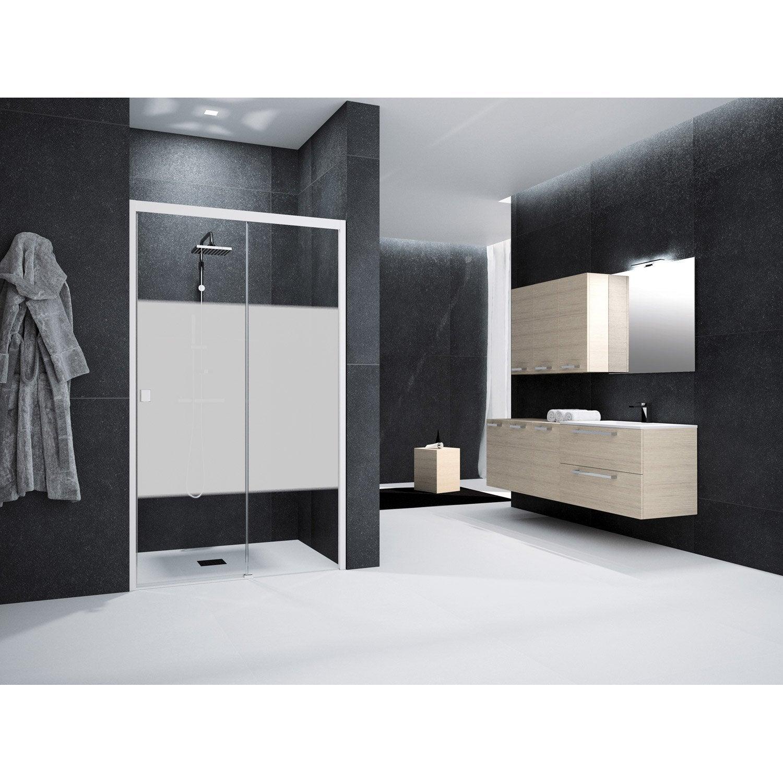 Porte de douche coulissante 130 cm s rigraphi neo leroy merlin - Porte coulissante pour douche de 130 cm ...