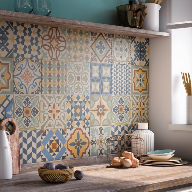 embellir sa cuisine avec un carrelage multicolore leroy. Black Bedroom Furniture Sets. Home Design Ideas
