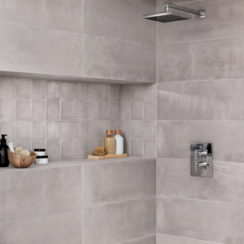Faïence mur béton gris mat l.25 x L.70 cm, Interior