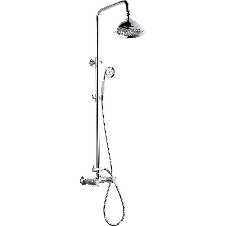 Colonne de douche avec robinetterie, ROUSSEAU Retro thermostatique chromé