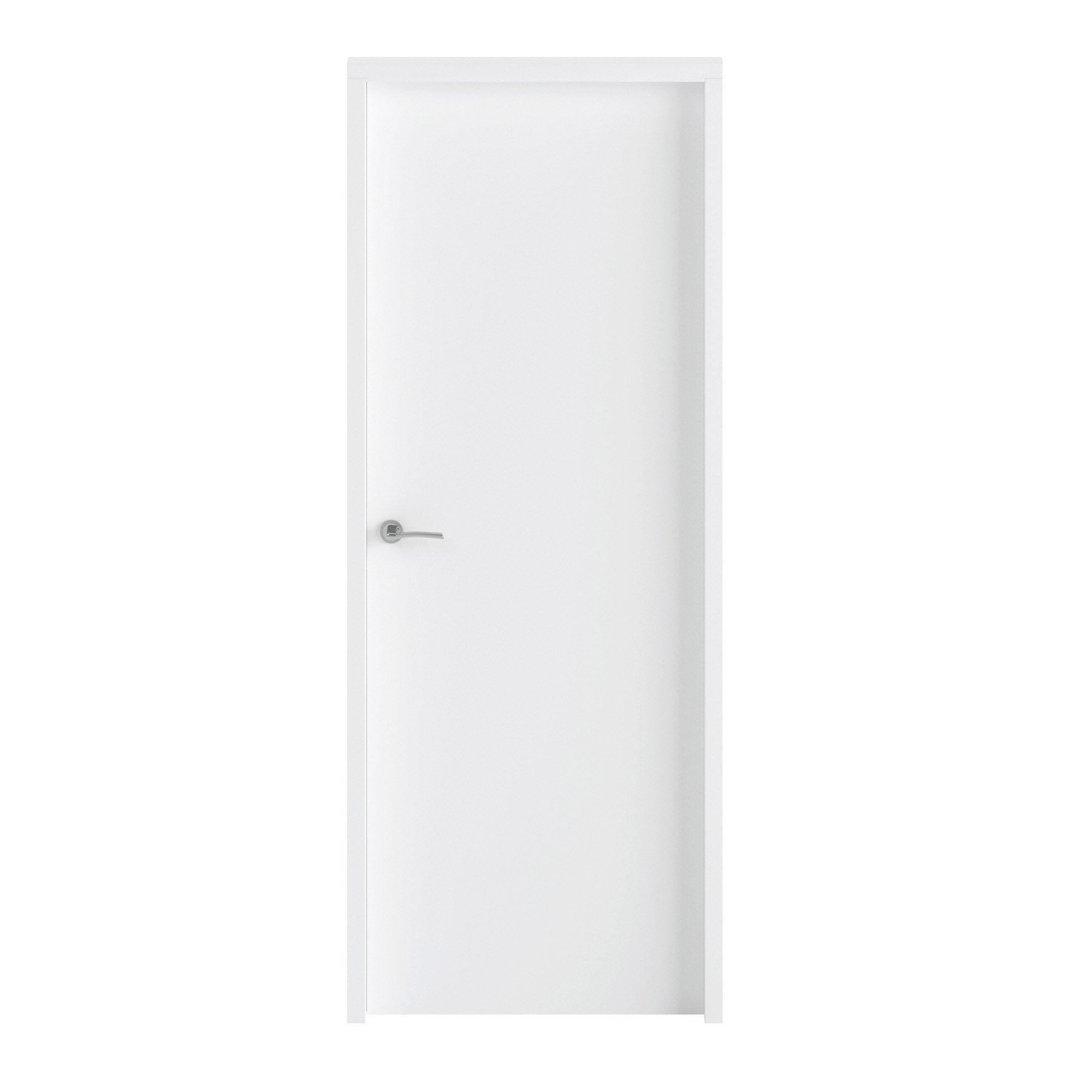 Bloc-porte bois revêtu Loulou, blanc H.204 x l.83 cm, réversible