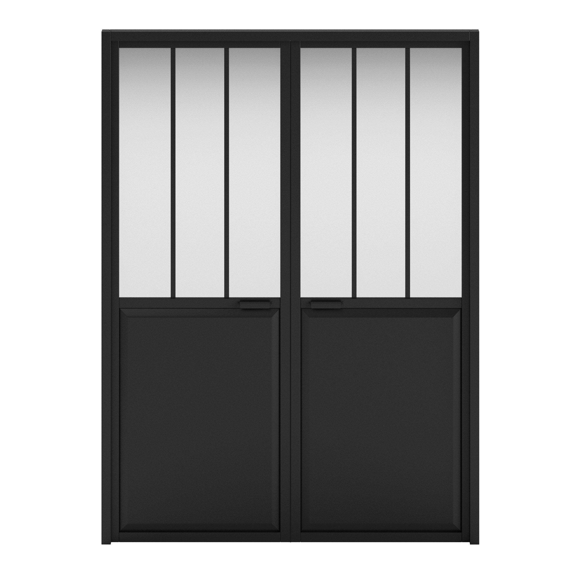 Double porte verrière vitré Atelier, noir H.204 x l.146 cm, poussant droit