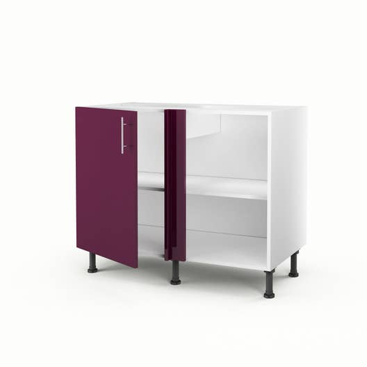 Meuble de cuisine bas d\'angle violet 1 porte Rio H.70 x l.100 x P.56 ...
