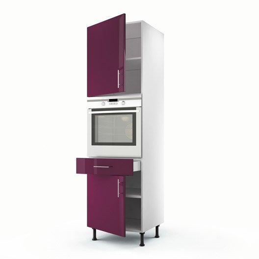 Meuble de cuisine colonne violet 2 portes 1 tiroir rio h - Colonne de cuisine 60 cm ...