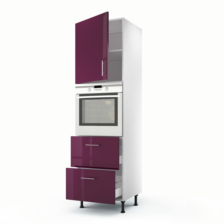 meuble de cuisine colonne violet 1 porte 2 tiroirs rio x x cm leroy merlin. Black Bedroom Furniture Sets. Home Design Ideas