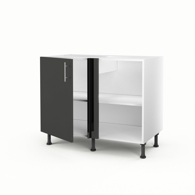meuble de cuisine bas d 39 angle gris 1 porte rio x x cm leroy merlin. Black Bedroom Furniture Sets. Home Design Ideas