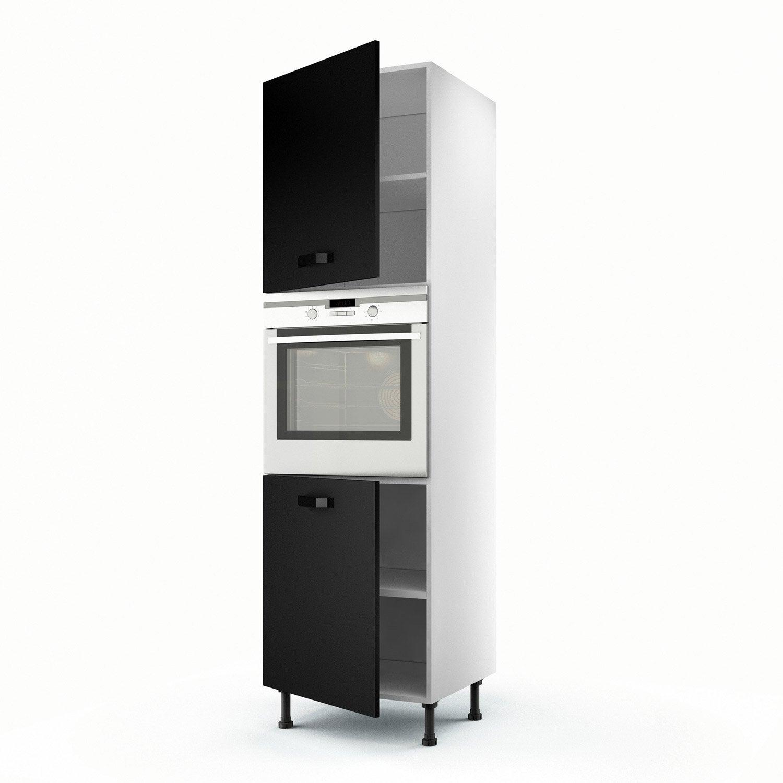 meuble de cuisine colonne noir 2 portes mat edition h.200 x l.60 x p