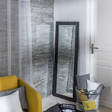 Miroir Nosa, résine, noir, l.40 x H.140 cm