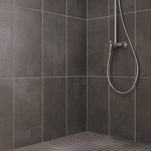 Fa ence mur anthracite tweed x cm leroy merlin for Autocollant pour carrelage salle de bain