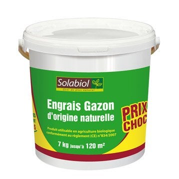Engrais naturel gazon SOLABIOL 7KG, 77 m²