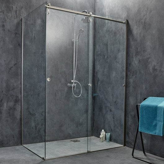 Porte de douche coulissante 119 cm transparent ellipse 2 - Porte de douche italienne coulissante ...