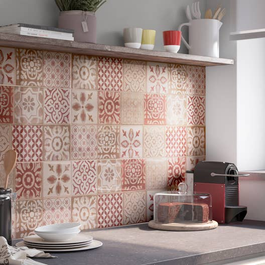 fa ence mur rouge decor haussmann x cm leroy merlin. Black Bedroom Furniture Sets. Home Design Ideas