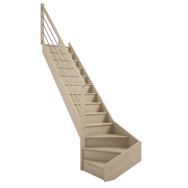escalier soft quart tournant gauche h274 rampe tubes structure marche bois leroy merlin. Black Bedroom Furniture Sets. Home Design Ideas