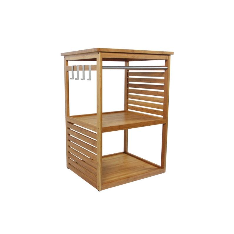 Meuble de salle de bains l.60 x H.85 x P.50 cm, bambou, Natural ...