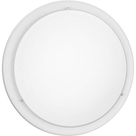 Plafonnier planet eglo blanc with plafonnier salle de bain for Carrelage adhesif salle de bain avec lampadaire conforama led