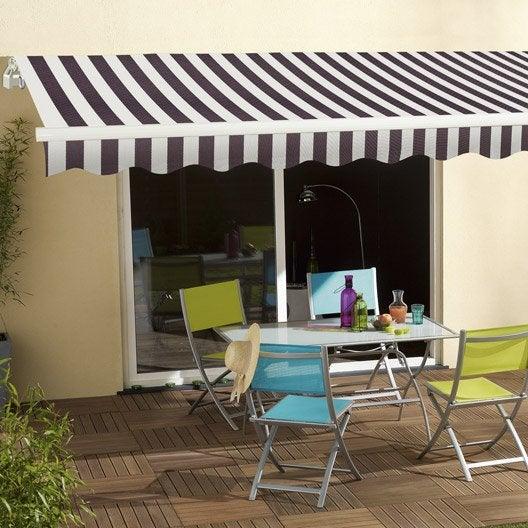 store banne manuel sunlight sans coffre 4 x 3 m blanc. Black Bedroom Furniture Sets. Home Design Ideas