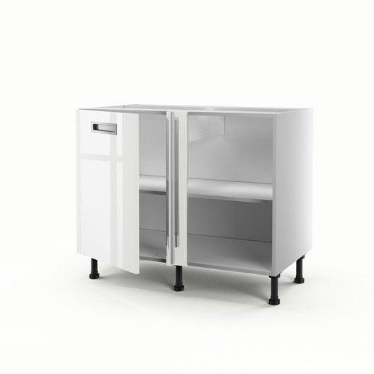 Meuble de cuisine bas d 39 angle blanc 1 porte play x l for Meuble blanc de cuisine