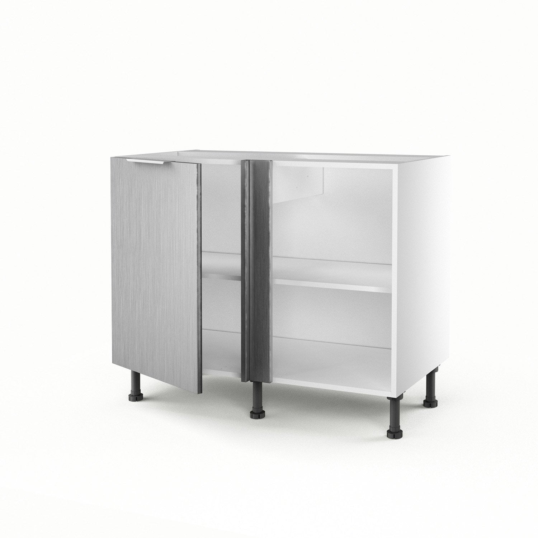 meuble de cuisine bas d'angle décor aluminium 1 porte stil h.70 x l